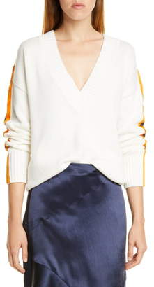 HUGO Sumala Stripe Sleeve Cotton & Cashmere Sweater