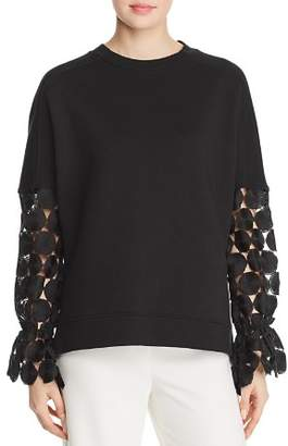 Elie Tahari Chantae Lace-Sleeve Sweatshirt