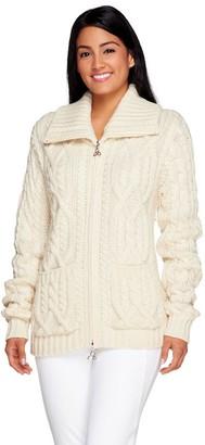 Aran Craft Merino Wool Zip Front Cardigan w/ Pockets