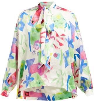 Balenciaga Floral Print Logo Jacquard Silk Blouse - Womens - White Multi