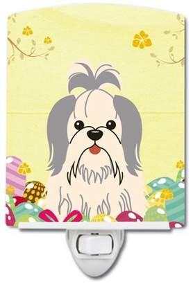 Shih Caroline's Treasures Easter Eggs Tzu Silver White Ceramic Night Light
