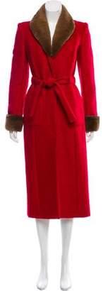 Blumarine Fur-Trimmed Mohair Coat
