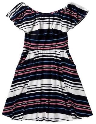 Zunie Ruffle Neck Stripe Dress (Big Girls)