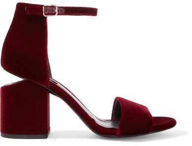 Alexander Wang - Abby Leather-trimmed Velvet Sandals - Burgundy