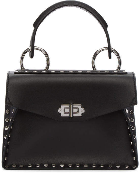 Proenza Schouler Black Small Studded Hava Top Handle Bag