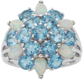 FINE JEWELRY Genuine Swiss Blue Topaz and Lab-Created Opal Cluster Ring