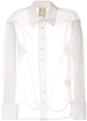BODICE pleated sleeve sheer shirt