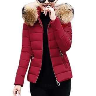 PENATE Women's Down Jackets PENATE Women's Slim Down Jacket Girls Soft Winter Warm Plush Hooded Cotton Coat