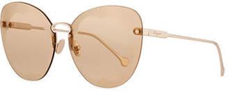 Salvatore Ferragamo Fiore Rimless Cat-Eye Sunglasses