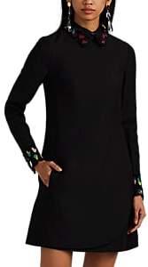 WOMEN'S FEATHER-TRIMMED WOOL-SILK DRESS SIZE 38