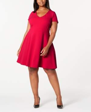 B. Darlin Trendy Plus Size Bow-Back Skater Dress, Created for Macy's