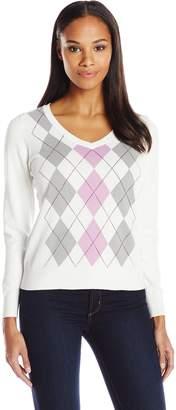Caribbean Joe Women's Cotton Argyle Sweater