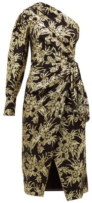 Altuzarra Chanda Floral Brocade Ruched One Shoulder Dress - Womens - Black Gold