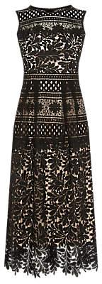 Warehouse Multi Lace Midi Dress, Black