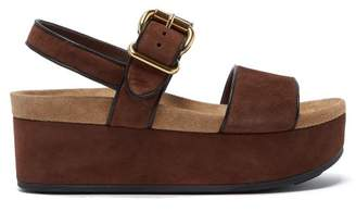 Prada Suede Double Strap Flatform Sandals - Womens - Dark Tan
