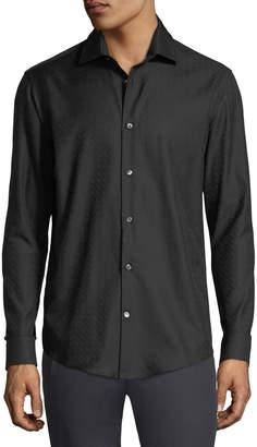 Salvatore Ferragamo Men's Gancini Jacquard Cotton Sport Shirt