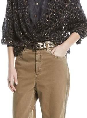 Brunello Cucinelli Crackled Leather Grommet Belt