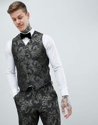 Asos Edition EDITION skinny tuxedo suit vest in green jacquard