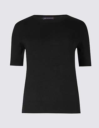 M&S Collection Round Neck Short Sleeve Jumper