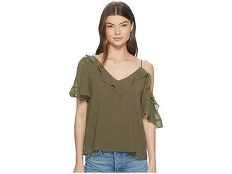 1 STATE 1.STATE Ruffle Edge Blouse w/ Shoulder Cut Out Women's Blouse