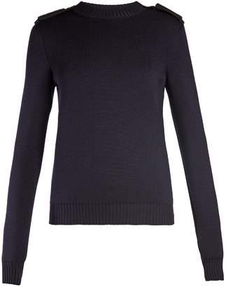 Saint Laurent Shoulder-epaulette wool sweater