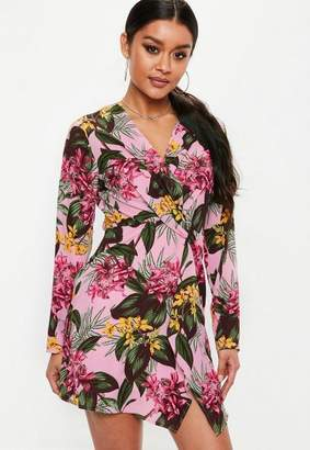Missguided Pink Twist Front Long Sleeve Tropical Mini Dress