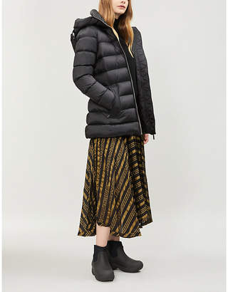 Burberry Water Resistant Womens Black Check Limehouse Hooded Shell-Down Puffer Coat