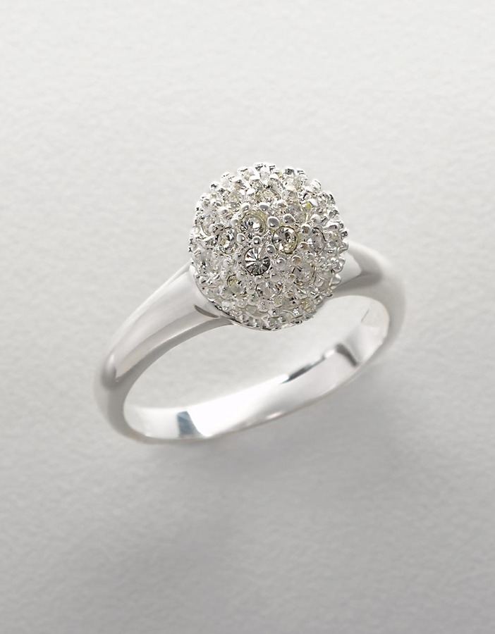 LORD & TAYLOR Sterling Silver And Cubic Zirconia Pavé Fire Ball Ring