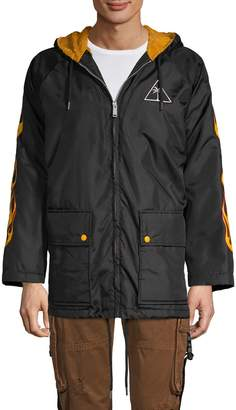 Palm Angels Palms & Flame Faux Shearling-Lined Jacket