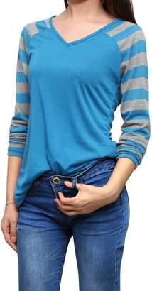 Allegra K Women's Striped Long Raglan Sleeves V Neck T-Shirt L