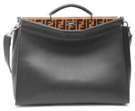 Fendi Logo Embroidered Peekaboo Leather Briefcase