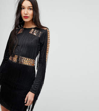 A Star Is Born Tall Mini Dress In Jersey With Embellished Studs And Fringing