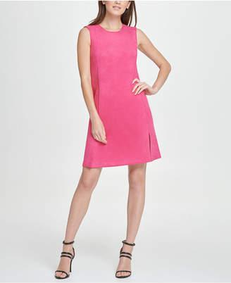 DKNY Stretch Faux Suede Zip Pocket Shift Dress