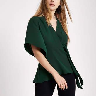 River Island Womens Dark green kimono sleeve tie side top