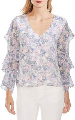 Vince Camuto Ruffle-Trimmed Floral Blouse