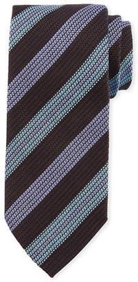 Eton Wide Textured Stripe Silk Tie