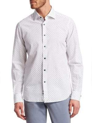 Saks Fifth Avenue COLLECTION Seersucker Polka Dot Linen Woven Shirt