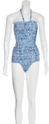 Herve Leger Braided Batik Swimsuit w/ Tags