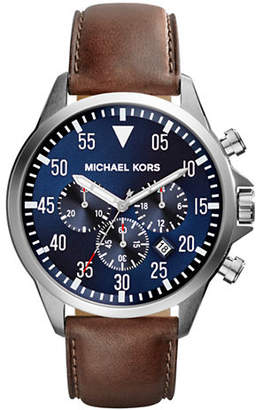 Michael Kors Silver Tone Stainless Steel Gage Chronograph Watch