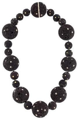 Lava Stone & Diamond Bead Necklace