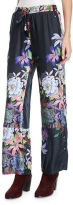 Johnny Was Kelly Floral-Print Pants with Drawstring Waist