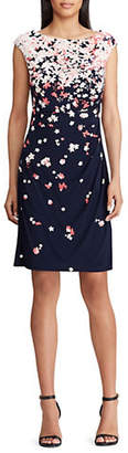 Chaps Slim Fit Pleated Floral Jersey Dress