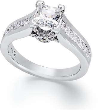 Macy's Certified Diamond Princess Cut Engagement Ring in 14k Gold or White Gold (1-1/2 ct. t.w.)