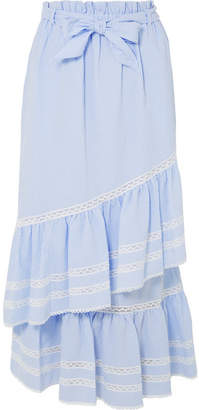 Jonathan Simkhai Lace-trimmed Striped Seersucker Maxi Skirt - Light blue