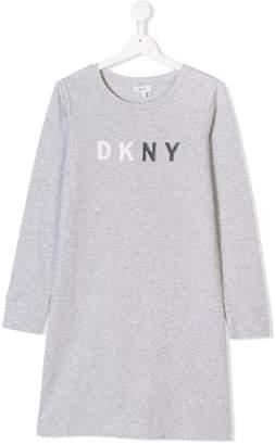 DKNY TEEN logo print jersey dress