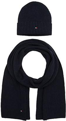 Tommy Hilfiger Men's Pima Cotton Giftpack BE+SC Scarf, Hat and Glove Set,(Manufacturer Size: OS)