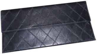 Chanel Vintage Timeless Black Leather Clutch Bag