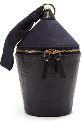 Staud - Minnow Crocodile Effect Leather And Suede Bag - Womens - Navy