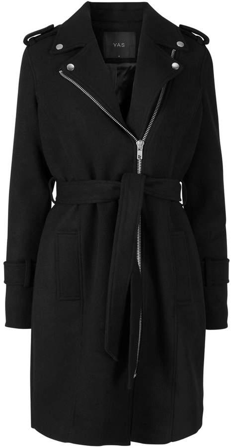 YAS Zip-Up Mid-Length Coat