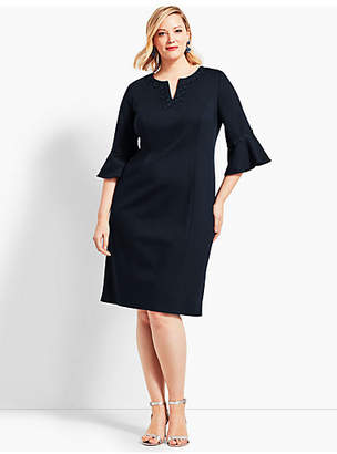 Talbots Embroidered Flounce-Sleeve Shift Dress